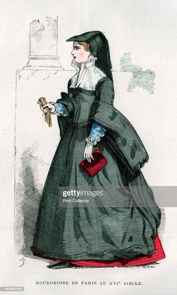 Bourgeoise of Paris, 16th century (1882-1884). Artist: Petit : News Photo