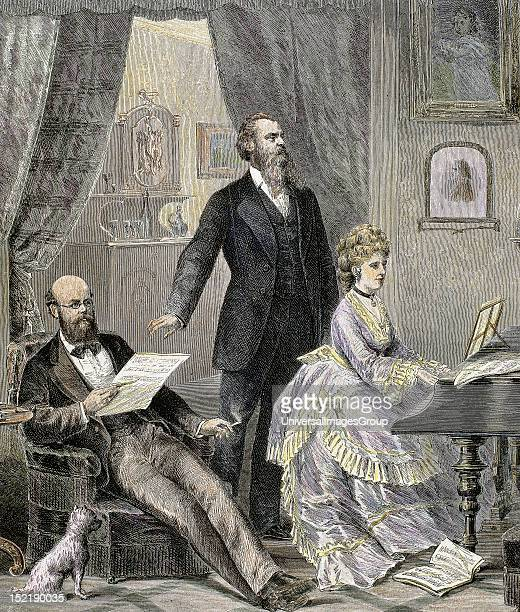 Bourgeoisie Listening to piano Nineteenthcentury colored engraving