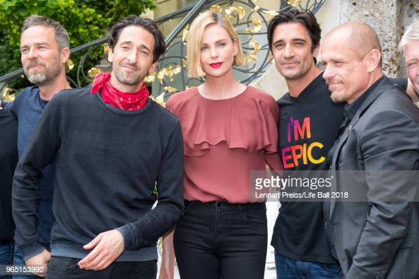 Bourne Adrien Brody Charlize Theron Gilles Marini and Life Ball organizer Gerald 'Gery' Keszler attend the Thaddaeus Ropac's brunch during the amfAR...