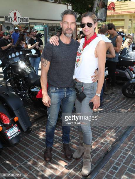 Bourne and Tricia Helfer attend Kiehl's 9th Annual LifeRide for amfAR on August 6, 2018 in Los Angeles, California.