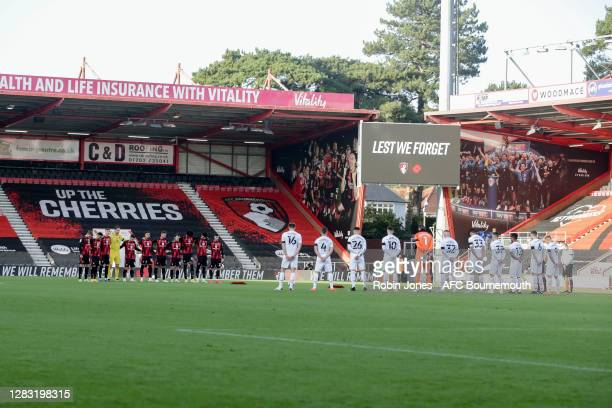 Bournemouth and Derby players during minutes silence to remember the passing of Nobby Stiles yesterday and Remembrance Sunday to come during the Sky...