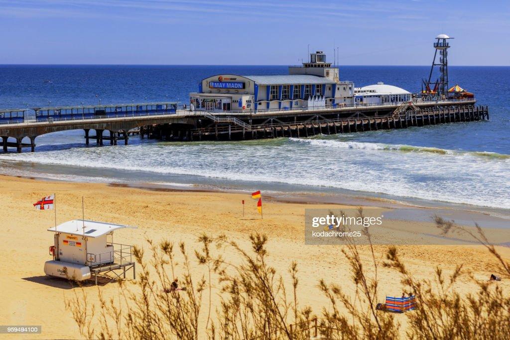 Bournemouth arial Blick auf Pier Seaside resort Dorset Küste Urlaub Urlaub Strand : Stock-Foto