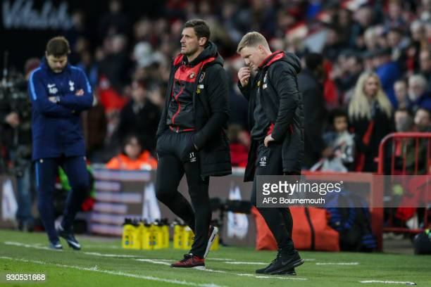 Bournemouth assistant manager Jason Tindall with Bournemouth manager Eddie Howe after Son HeungMin of Tottenham Hotspur had made it 31 during the...