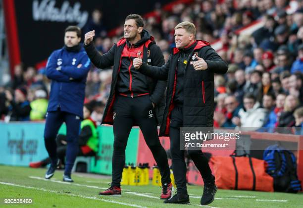 Bournemouth assistant manager Jason Tindall with Bournemouth manager Eddie Howe during the Premier League match between AFC Bournemouth and Tottenham...