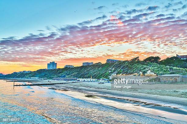 Bournemouth beach at sunset, England