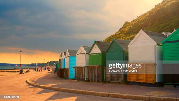 bournemouth  beach huts - bournemouth england stock pictures, royalty-free photos & images