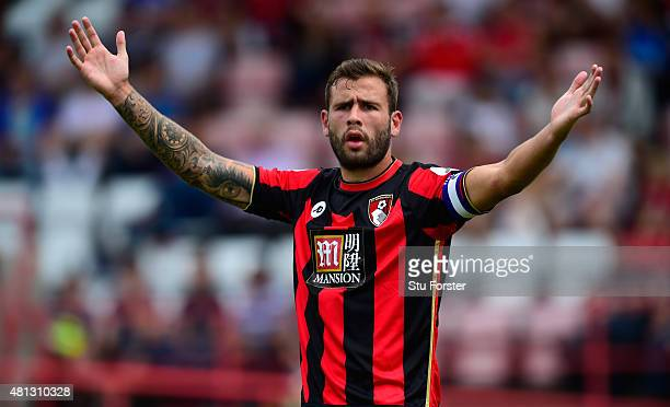 Bournemouth defender Steve Cook reacts during the Pre season friendly match between Exeter City and AFC Bournemouth at St James Park on July 18 2015...