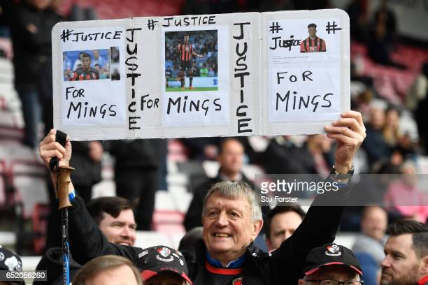 Bournemouth fans holds up a sign of surport for Tyrone Mings of AFC Bournemouth prior to the Premier League match between AFC Bournemouth and West...