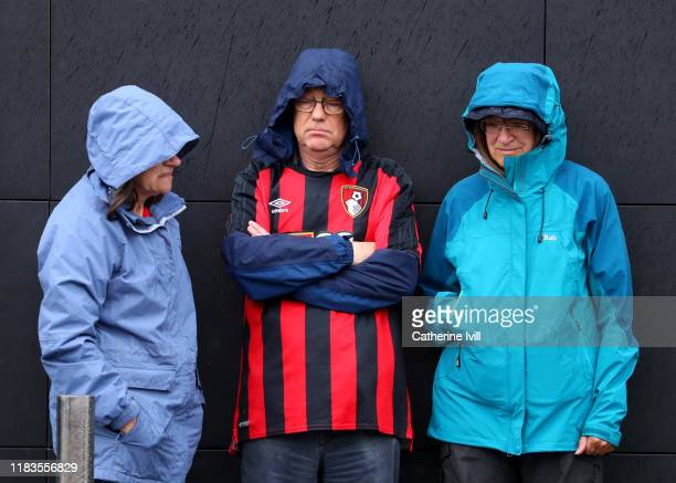 Bournemouth fans outside the stadium prior to the Premier League match between Watford FC and AFC Bournemouth at Vicarage Road on October 26 2019 in...