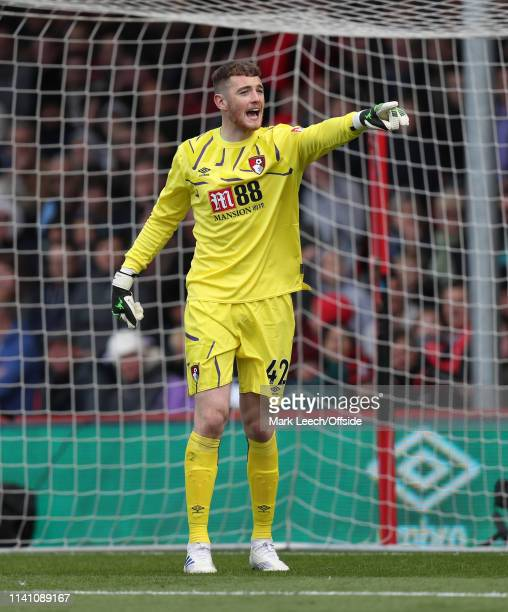 Bournemouth goalkeeper Mark Travers during the Premier League match between AFC Bournemouth and Tottenham Hotspur at Vitality Stadium on May 4 2019...