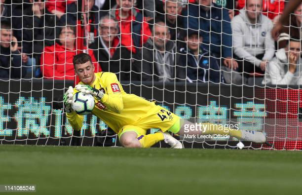 Bournemouth goalkeeper Mark Travers makes a save during the Premier League match between AFC Bournemouth and Tottenham Hotspur at Vitality Stadium on...