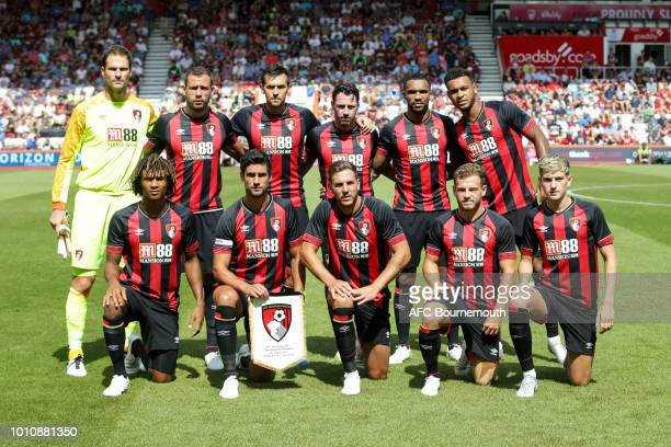 Bournemouth lineup during the preseason friendly between AFC Bournemouth and Olympique Marseille at Vitality Stadium on August 4 2018 in Bournemouth...