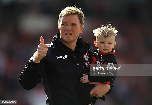 Bournemouth manager Eddie Howe acknowledges the fans following the Barclays Premier League match between AFC Bournemouth and West Bromwich Albion at...