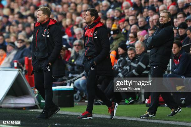 Bournemouth manager Eddie Howe and Bournemouth assistant Jason Tindall during the Premier League match between Swansea City and Bournemouth at the...