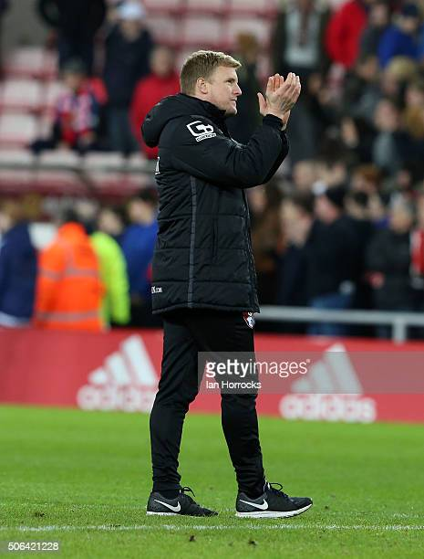 Bournemouth manager Eddie Howe applauds the fans at the final whilstle during the Barclays Premier League match between Sunderland and Bournemouth at...