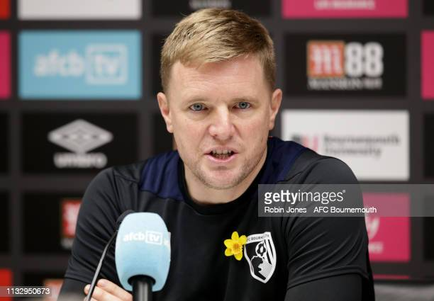 Bournemouth manager Eddie Howe attends a press conference at the Vitality Stadium on March 01 2019 in Bournemouth England