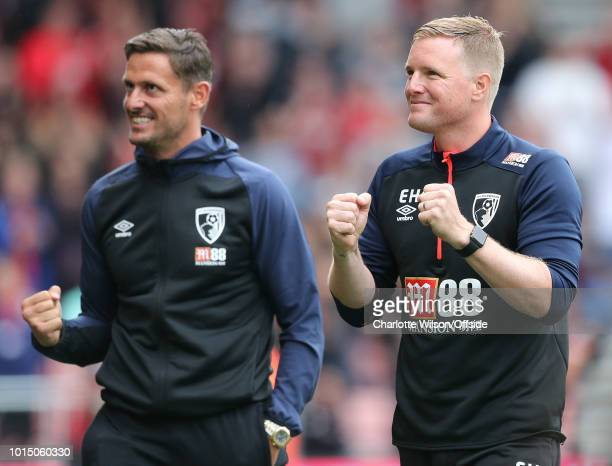 Bournemouth manager Eddie Howe celebrates their 2nd goal during the Premier League match between AFC Bournemouth and Cardiff City at Vitality Stadium...