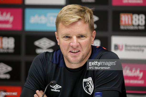 Bournemouth manager Eddie Howe during a press conference at Vitality Stadium on October 19 2018 in Bournemouth England