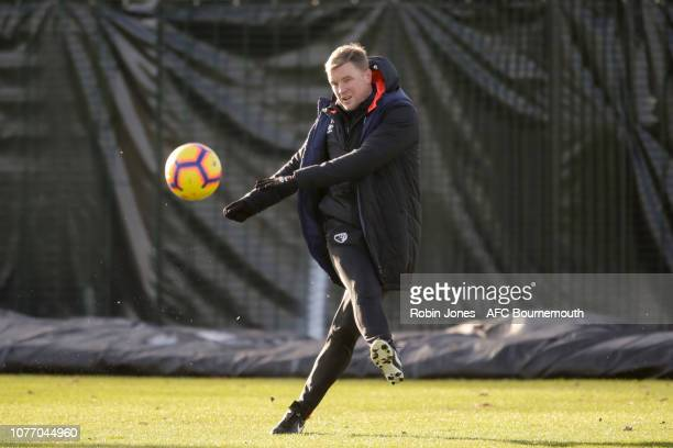 Bournemouth manager Eddie Howe during a training session at Vitality Stadium on January 4 2019 in Bournemouth England