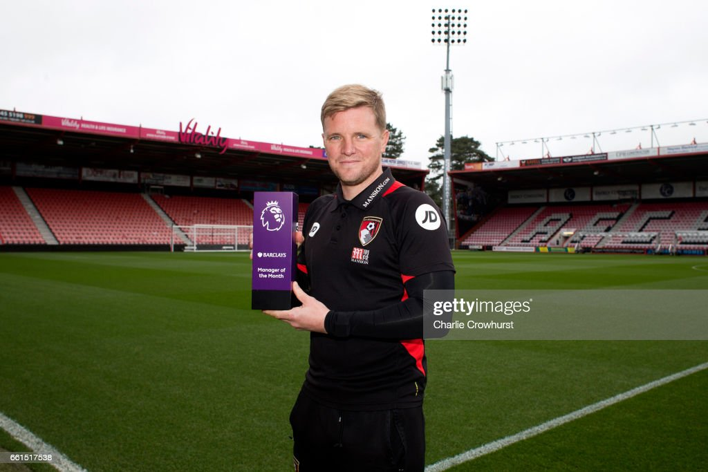 Bournemouth manager Eddie Howe is Presented with the Barclays Manager of the Month Award on March 31, 2017 in Bournemouth, England.