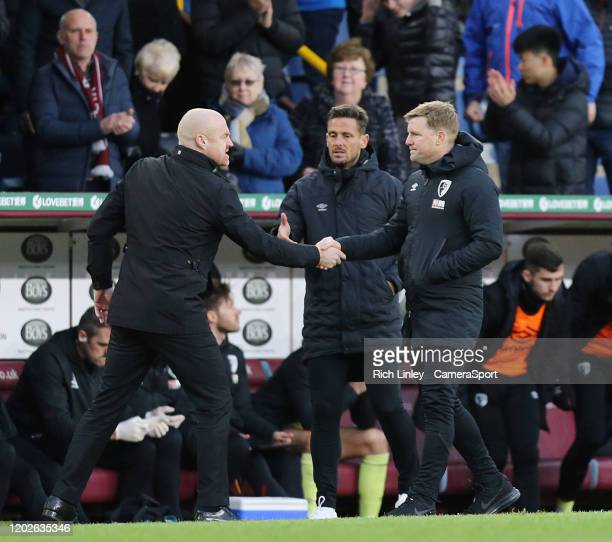 Bournemouth manager Eddie Howe looks dejected as he congratulates Burnley manager Sean Dyche at the final whistle during the Premier League match...