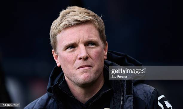 Bournemouth manager Eddie Howe looks on before the Barclays Premier League match between Newcastle United at AFC Bournemouth at St James' Park on...