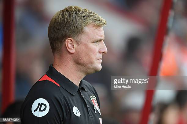 Bournemouth manager Eddie Howe looks on during a preseason friendly between Bournemouth and Valencia at the Vitality Stadium on August 3 2016 in...