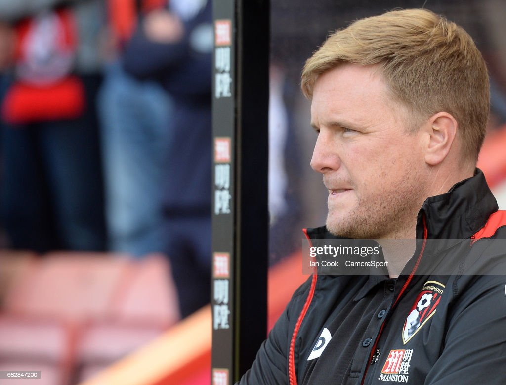 Bournemouth manager Eddie Howe prior to kick off during the Premier League match between Bournemouth and Burnley at Vitality Stadium on May 13, 2017 in Bournemouth, England.