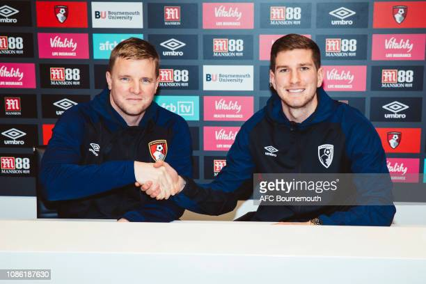 Bournemouth manager Eddie Howe shakes hands with new signing Chris Mepham at Vitality Stadium on January 22, 2019 in Bournemouth, England.
