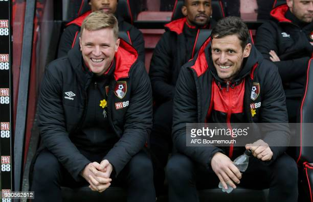 Bournemouth manager Eddie Howe with Bournemouth assistant manager Jason Tindall during the Premier League match between AFC Bournemouth and Tottenham...