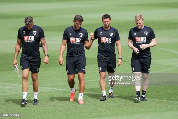 Bournemouth manager Eddie Howe with coach Steve Fletcher assistant manager Jason Tindall and coach Steve Purches during preseason training on July 19...