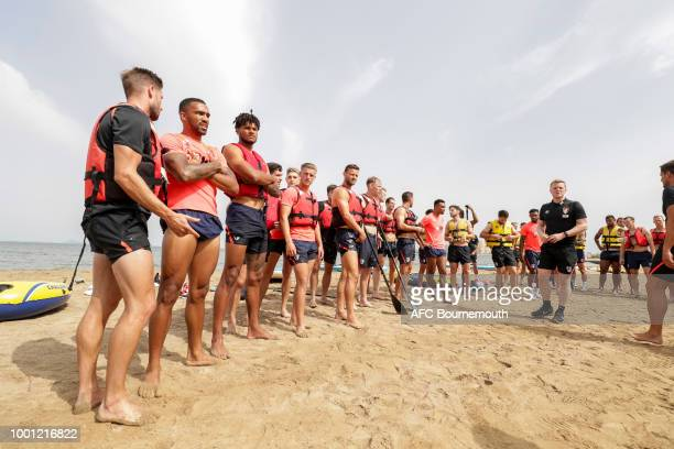 Bournemouth manager gives instruction to his players before a preseason teambuilding exercise involving paddle boards on July 18 2018 in La Manga...