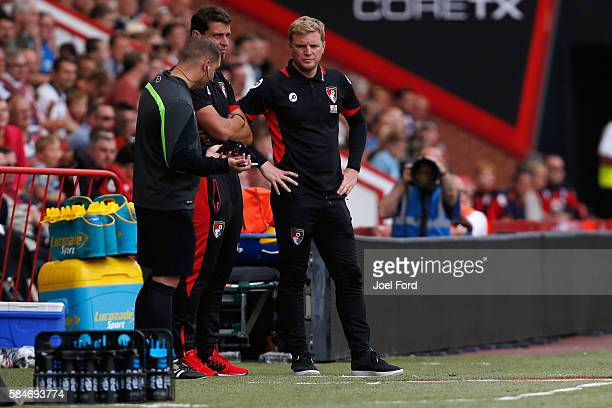 Bournemouth manger Eddie Howe looks on during the preseason match between Bournemouth and Cardiff City at Goldsands Stadium on July 30 2016 in...