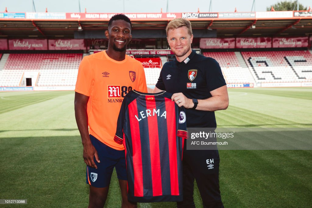 AFC Bournemouth new signing Jefferson Lerma poses with manager Eddie Howe at the Vitality Stadium on August 7, 2018 in Bournemouth, England.