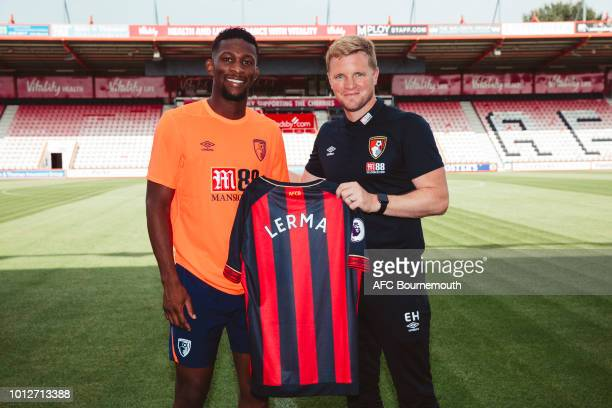 Bournemouth new signing Jefferson Lerma poses with manager Eddie Howe at the Vitality Stadium on August 7 2018 in Bournemouth England