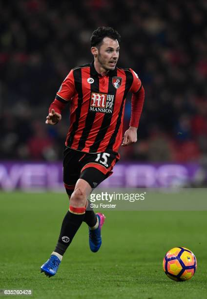 Bournemouth player Adam Smith in action during the Premier League match between AFC Bournemouth and Manchester City at Vitality Stadium on February...