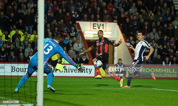 Bournemouth player Callum Wilson scores the second goal during the Capital One Cup Fourth Round match between AFC Bournemouth and West Bromwich...