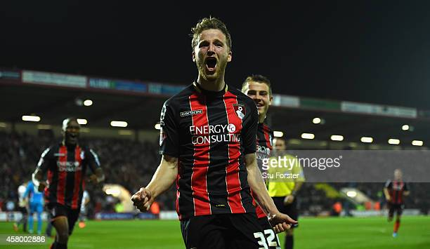 Bournemouth player Eunan O' Kane celebrates after opening the scoring during the Capital One Cup Fourth Round match between AFC Bournemouth and West...