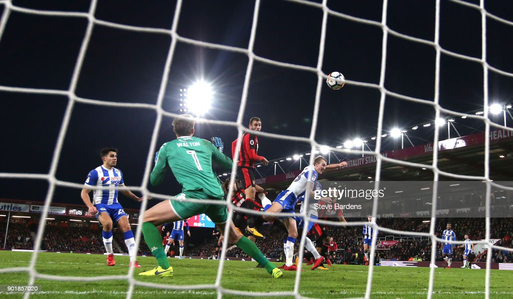 Bournemouth player Steve Cook (c) heads the second Bournemouth goal during the The Emirates FA Cup Third Round match between AFC Bournemouth and Wigan Athletic at Vitality Stadium on January 6, 2018 in Bournemouth, England.