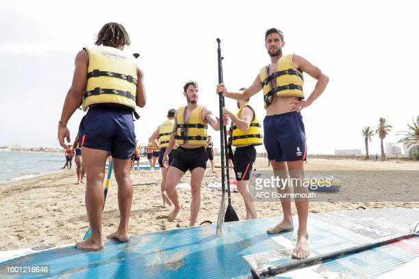 Bournemouth players Adam Smith and Andrew Surman during preseason teambuilding exercise involving paddle boards on July 18 2018 in La Manga Spain