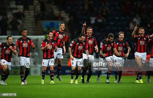Bournemouth players celebrate victory in the penalty shoot out during the Capital One Cup third round match between Preston North End and AFC...