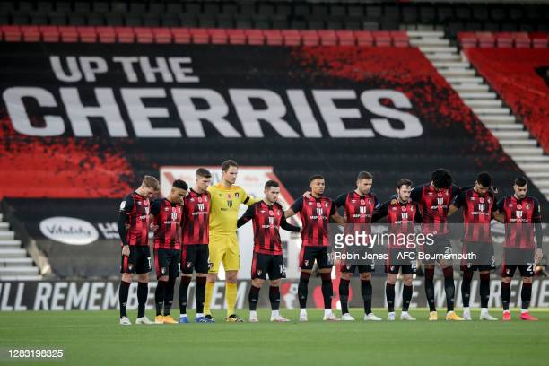 Bournemouth players during minutes silence to remember the passing of Nobby Stiles yesterday and Remembrance Sunday to come during the Sky Bet...