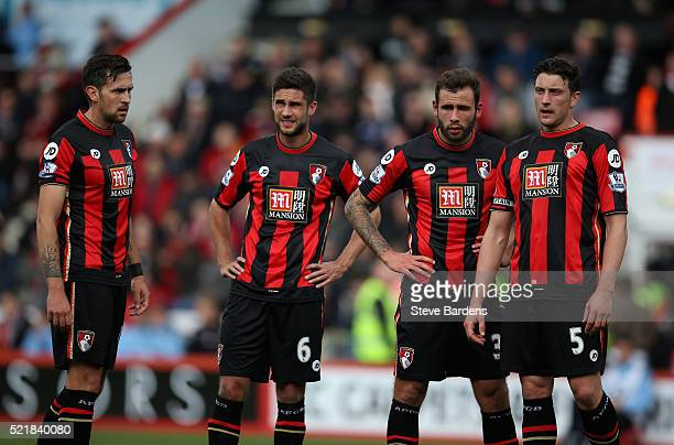 Bournemouth players look dejected after conceding during the Barclays Premier League match between AFC Bournemouth and Liverpool at the Vitality...