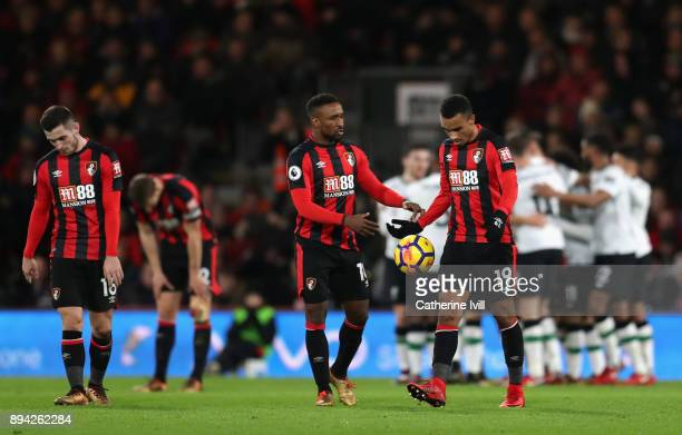 Bournemouth players look dejected after Liverpool score their fourth goal during the Premier League match between AFC Bournemouth and Liverpool at...