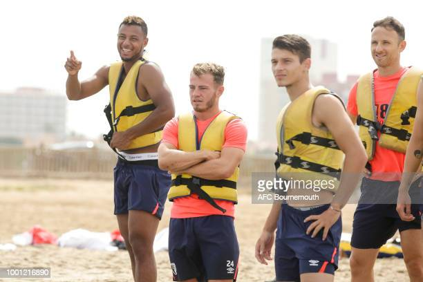 Bournemouth players Lys Mousset Ryan Fraser and Alex Dobre during preseason teambuilding exercise involving paddle boards on July 18 2018 in La Manga...
