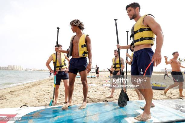 Bournemouth players Nathan Ake and Andrew Surman during preseason teambuilding exercise involving paddle boards on July 18 2018 in La Manga Spain