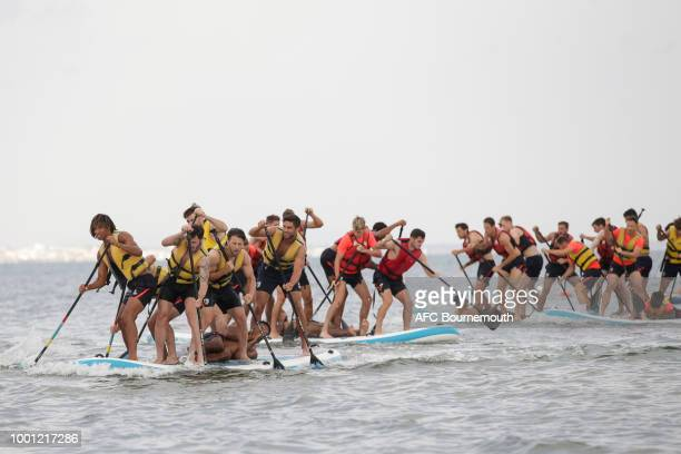 Bournemouth players take to paddle boards during preseason teambuilding exercise on July 18 2018 in La Manga Spain