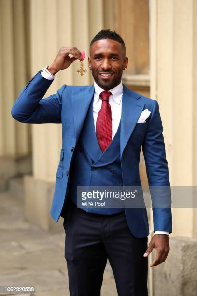 Bournemouth striker Jermain Defoe after being awarded an OBE at an investiture ceremony at Buckingham Palace on November 16 2018 in London England