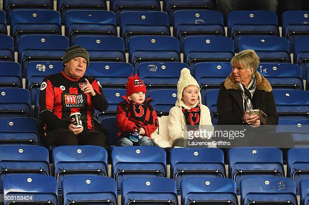 Bournemouth supporters are seen on the stand prior to the Barclays Premier League match between Leicester City and Bournemouth at The King Power...