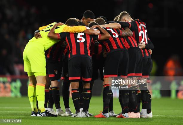 Bournemouth team huddle ahead of the Premier League match between AFC Bournemouth and Crystal Palace at Vitality Stadium on October 1 2018 in...